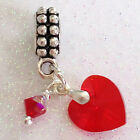 Exquisite Made with SWAROVSKI Elements Heart BIRTHSTONE Charm Beads BAIL or CLIP
