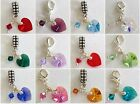SWAROVSKI Elements Heart BIRTHSTONE Charm Beads ~ Bail or Clip On