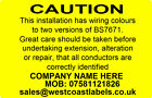 Electrical Safety Warning Labels - HARMONISATION TWO COLOUR - Personalised
