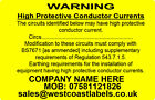 Electrical Safety Warning Labels - CONDUCTOR CURRENT - Personalised 76mm x 50mm