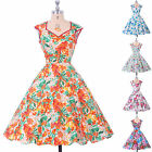 New Ladies Vintage 1950's style Floral full Circle Swing Party Dress