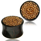 PAIR TAMARIND WOOD PLUGS LASER CUT JACK FRUIT WOOD OM SYMBOL GAUGES TUNNELS