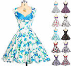 BLUE+ FLORAL NEW CLASSY VINTAGE 40S 1950's ROCKABILLY PINUP SWING EVENING DRESS