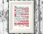 Shed Seven Chasing Rainbows Song Lyric Typography Poster Print Lyric WallArt