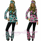 Hippy Fancy Dress Costume Women 60s Hippie Flower Power Groovy Plus Size 6-20 UK