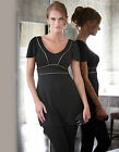 BRAVISSIMO LADIES/WOMENS Gold Trim Tunic in BLACK by PEPPERBERRY (73)
