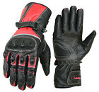 Real Leather Motorbike Motorcycle Gloves Full Finger Waterproof Hi-Viz Racing