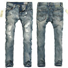 Fashion Mens Casual Pants Skinny Jeans Straight Washed Denim Slim Fit Trousers