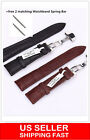 HQ Genuine Butterfly Deployant Clasp Buckle+ Leather Watch Band Strap 18mm-24mm