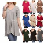 USA Womens V-Neck A-Line Tunic Short Sleeve Loose Top Shirt Plus Rayon Span PLUS