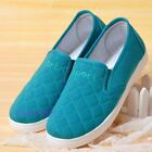 Women Quilt Low Top Shoes Trainers Sneakers Plimsoll Skate Pump Slip On Flat Red