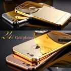 Luxury Make-up Mirror Gold Plated Frame Back Case Cover Skin for iPhone 6 & Plus