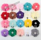 Wholesale Chiffon Pearl corsage flower Appliques Sewing Wedding 20color U-Pick