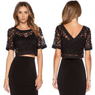 2015 Fashion Women Embroidery Lace Crochet Tee Shirt Casual Top Blouse Cover Up