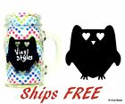 Vinyl Owl Chalkboard Labels - Black Reusable Decal Sticker Mason Jar Party