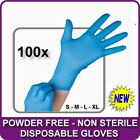 BOX OF 100 BLUE NITRILE POWDER FREE DISPOSABLE WORK RUBBER GLOVES NEW ALL SIZES
