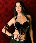 bead bra black silver sequin ribbon burlesque belly dance rave small medium L XL