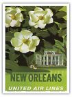 New Orleans USA Magnolia Blossoms Vintage Airline Travel Art Poster Print