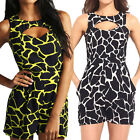 Womens Printed Sleeveless Round Neck Romper Jumpsuit Shorts Hole S M