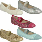 DANCE SOLO - GIRLS CLARKS GOLD SLIP ON F FIT BALLERINA SPARKLY GLITTER SHOES