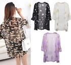 Outdoor Women Loose Sunscreen Chiffon Cardigan Summer Kimono Beach Casual Coat