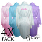 4 PACK Bridal Wedding Bride Bridesmaid Dressing Gowns Satin Robes Personalised