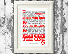 Robbie Williams Shes The One Song Lyrics Poster Typography Print Lyric Design