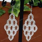 Fashion Luxury White Gold Plated Long Statement Ear Piercing Dangle Earrings