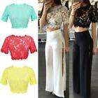 Women's Sexy Sheer Lace Floral Party Bodycon Tops Crop Tops Short T-Shirt Blouse
