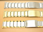 Stainless Steel Two-Tone Gold Plated Watch Strap Bracelet, 20mm, 22mm, 24mm