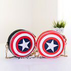 Captain America Shield Shoulder Chain Bag Faux Leather Round Purse Cross Body