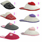 LADIES WOMENS FURRY SOFT MULE SLIPPERS HOUSE BEDROOM WARM COMFORT SHOES COOLER