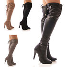 LADIES WOMENS OVER THE KNEE BOOTS SLOUCH LONG LEG TIE SLOUCH FASHION SIZE