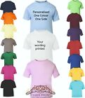 BABY/TODDLER COLOURED T SHIRT PLAIN OR PERSONALISED SIZES 0-24 MONTHS