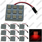 10X Red 9 5050 SMD LED Festoon Dome/Door/Box Light Panel Interior Bulb J002