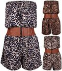 Womens Animal Leopard Printed Ladies Boob Tube Belted Pocket Playsuit Jumpsuit