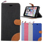For Iphone 5 5s 6 6Plus Canvas Jean Design Wallet Case Cover Holster