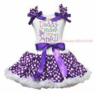 I have Daddy under my Spell White Top Purple White Dots Skirt Girls Outfit 1-8Y