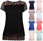 Womens Short Sleeve Ladies Crochet Mesh Line Lace Bow Tie Long Tunic T-Shirt Top