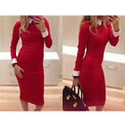 F Hot Sale Lady OL Bodycon Dress LongSleeve Bandage Work Wear Colthes Dresses UK