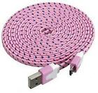 NTJ 10FT LONG Flat Braided Fabric Charger Cable charging for MICRO USB data sync
