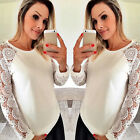 Fashion Women Lace Summer Jumper Sweater Casual Sweater Pullover Top Blouse