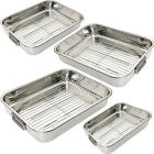STAINLESS TRAYS OVEN PAN ROASTER TRAY GRILL RACK ROASTING BAKING DISH STEEL