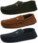 New Dunlop Ralph Mens Leather Suede Moccasin Lined Slippers Tan, Navy Or Brown