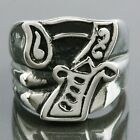Men's Stainless Steel Gragon Claw Lucky Number 7 Punk Biker Finger Band Rings