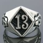 Stainless Steel Rhombus Tops Lucky Number 13 Evil Skull Head Carved Biker Rings