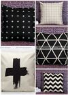 45cm Linen Cushion Cover Black White Geometric French Pillow Case