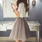 Fashion Elegant Womens Summer Chiffon Organza Short Sleeve 2 Pieces Mini Dress