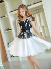 Elegant Womens Summer Chiffon Floral False 2 Pieces Short Sleeve Slim Mini Dress