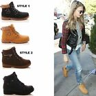 LADIES WOMENS ANKLE BOOTS FUR LACE UP BUCKLE WINTER FASHION SHOES SIZE